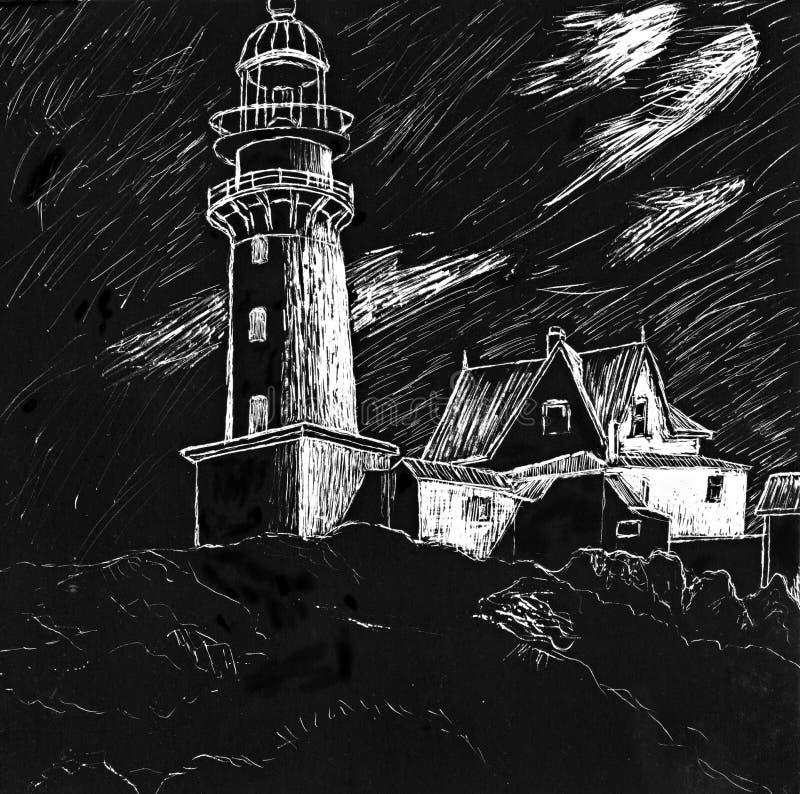 Leuchtturm-Abbildung stock abbildung