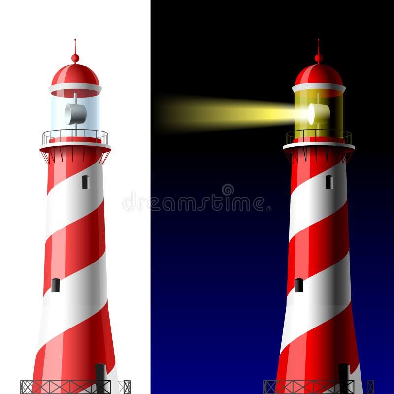 Leuchtturm auf weißem und Dunklem vektor abbildung