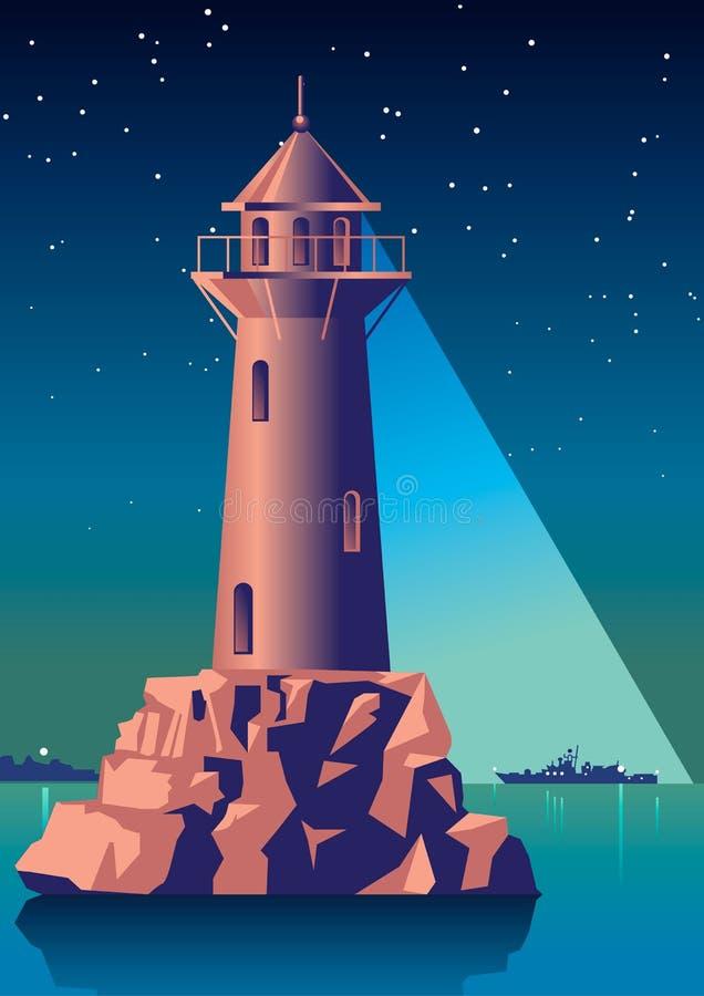 Leuchtturm belichtet das Schiff im Nachtmeer Weinlese-Illustration Art Deco stock abbildung