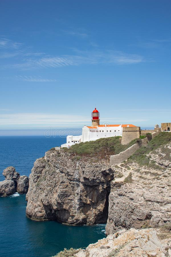 Leuchtturm Cabo de Sao Vincente - der meiste südwestliche Punkt des Eus lizenzfreies stockfoto