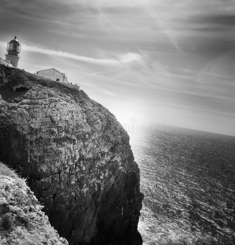 Leuchtturm: cabo San Vicente, Algarve portugal lizenzfreie stockfotografie