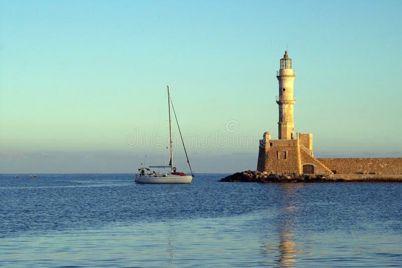 Leuchtturm in Chania, Griechenland stockfoto