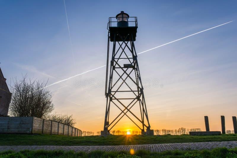Leuchtturm der ehemaligen Insel Schokland, die Niederlande lizenzfreie stockfotografie
