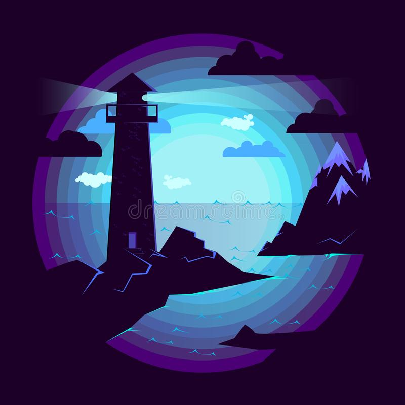 Leuchtturm durch das Meer Ton- Illustration stock abbildung