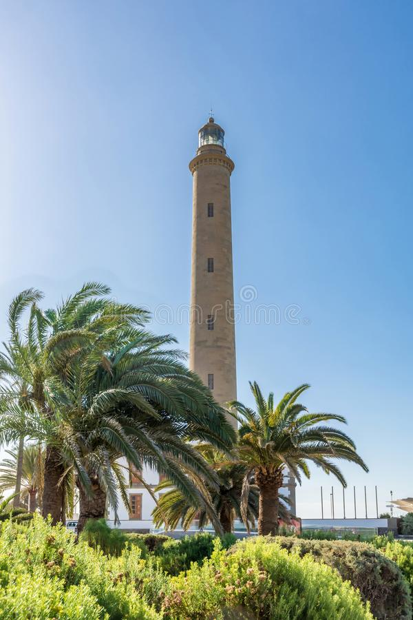 Faro de Maspalomas lighthouse in Gran Canaria in front of blue sky royalty free stock image