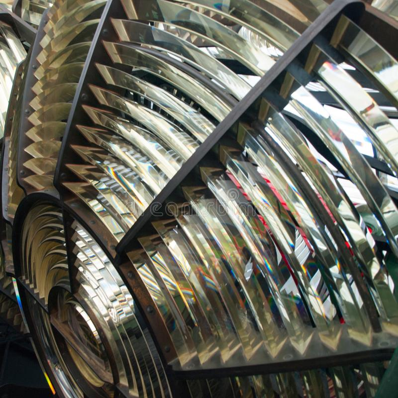 Leuchtturm Fresnel-Objektiv stockfotos