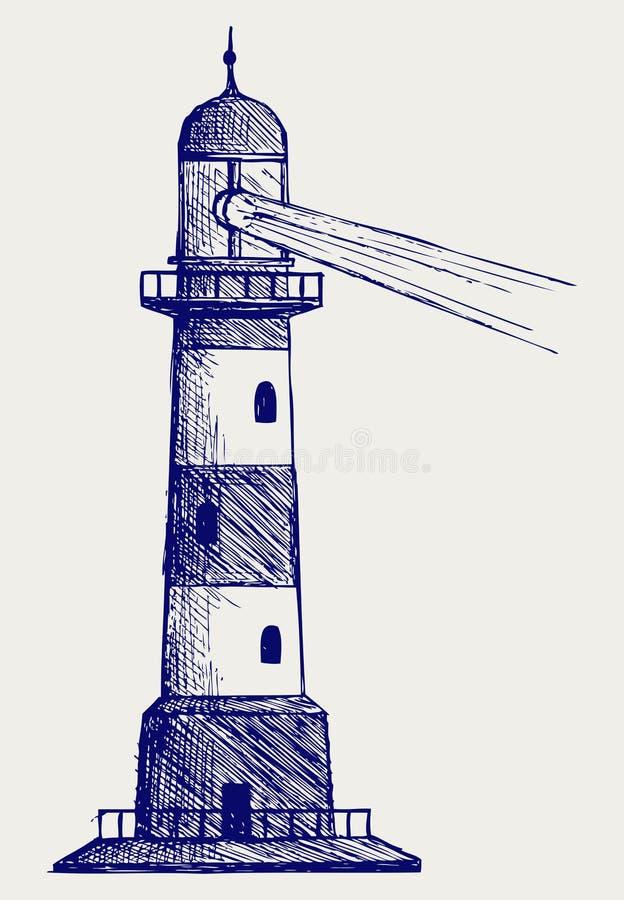 Leuchtturm. Gekritzelart vektor abbildung
