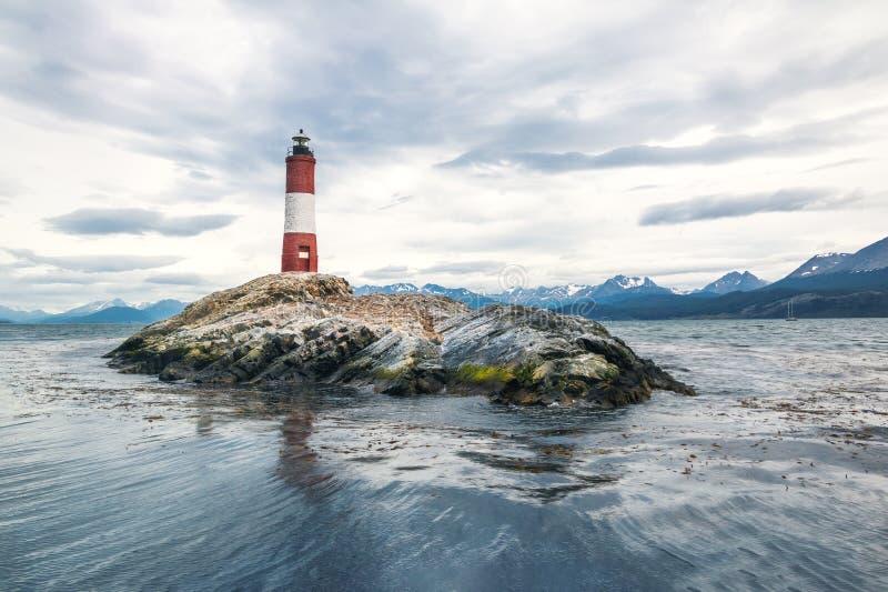 Leuchtturm Les Eclaireurs auf Spürhund-Kanal, Ushuaia - Argentinien lizenzfreie stockfotografie