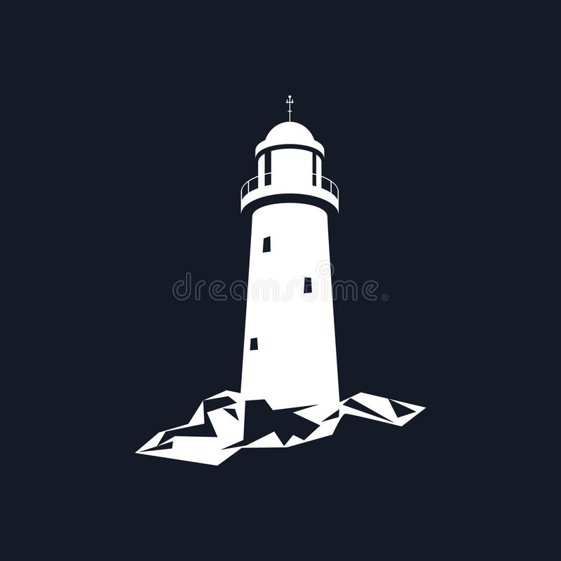 Leuchtturm lokalisiert auf Schwarzem lizenzfreie abbildung
