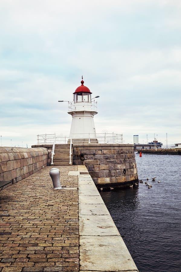 Leuchtturm in Malmö, Schweden stockfotografie