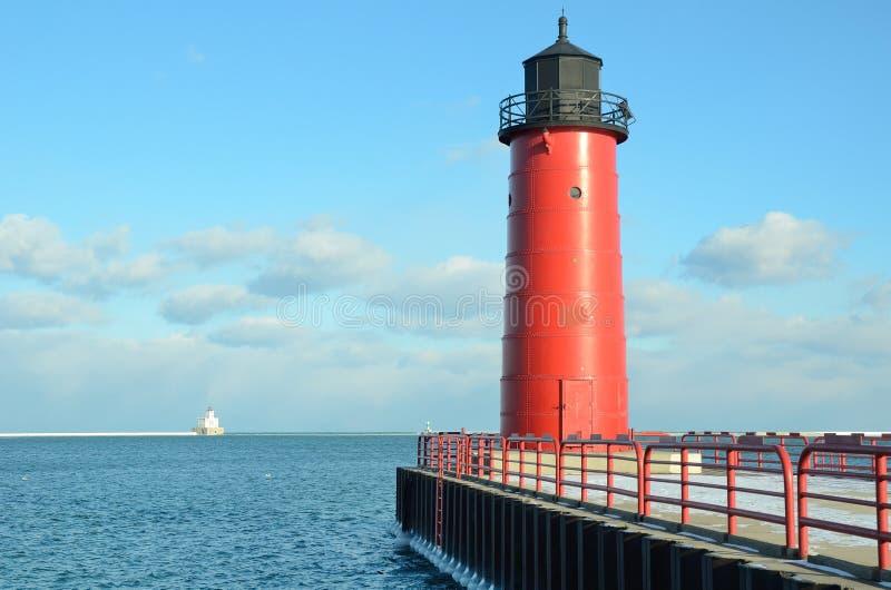 Leuchtturm Milwaukee-Pierhead stockfoto