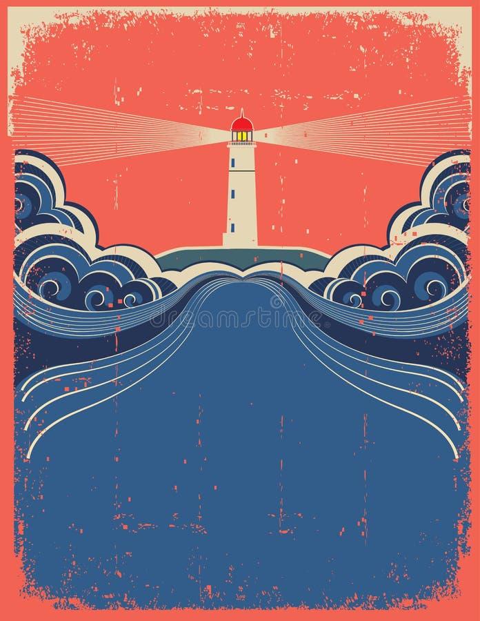 Leuchtturm mit blauen Wellen