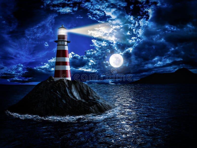Leuchtturm am Mondschein stock abbildung