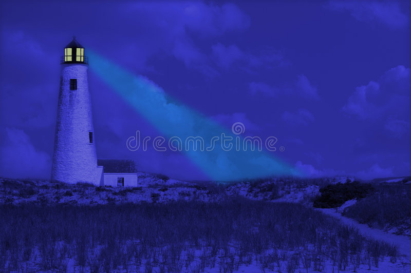 Leuchtturm nach Dunkelheit stock abbildung