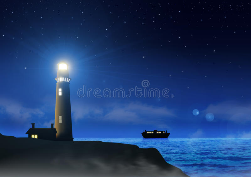 Leuchtturm nachts vektor abbildung