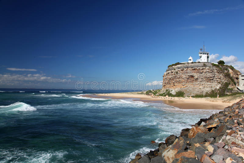 Leuchtturm - Newcastle Australien lizenzfreies stockfoto