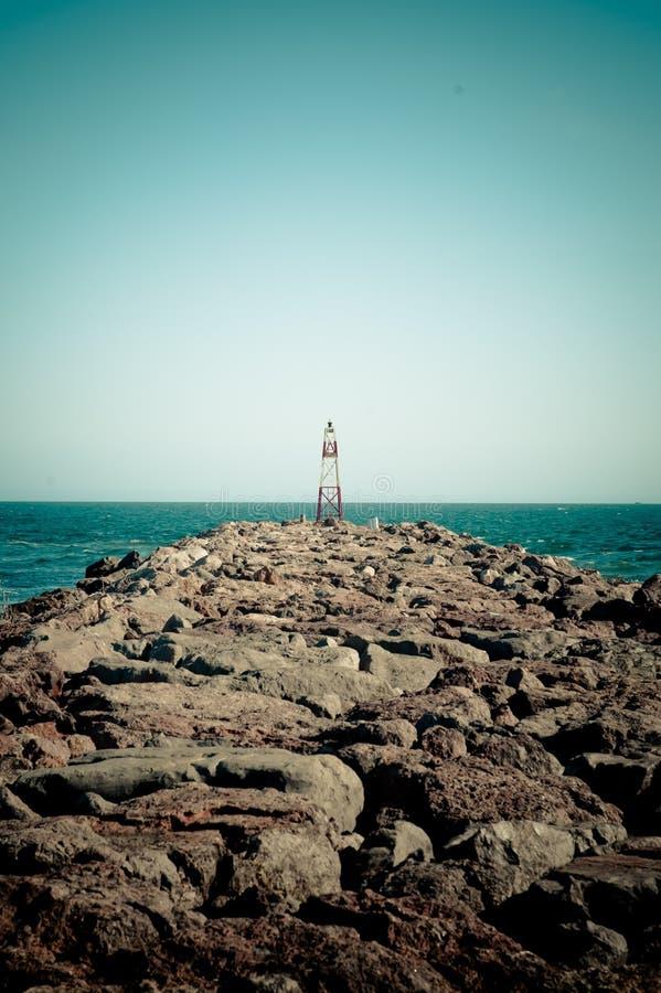Leuchtturm am Rand von Guadiana in Portugal lizenzfreie stockfotos