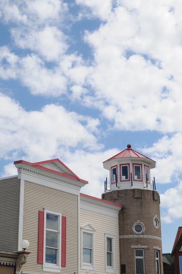 Leuchtturm redete Gebäude in Mackinaw Michigan an stockfotografie