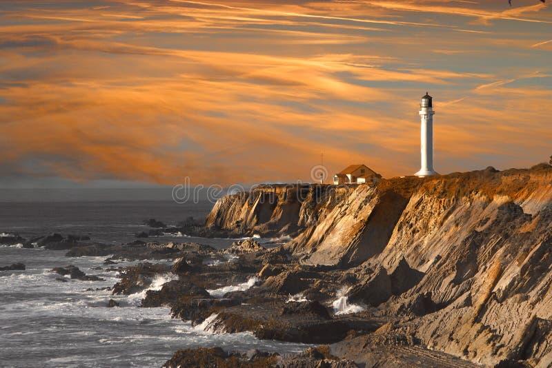 Leuchtturm am Sonnenuntergang stockfotografie