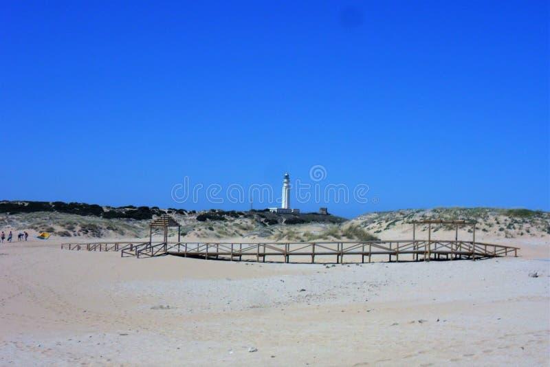LEUCHTTURM in Trafalgar I Caños De Meca-Cadiz-Spanien stockbild