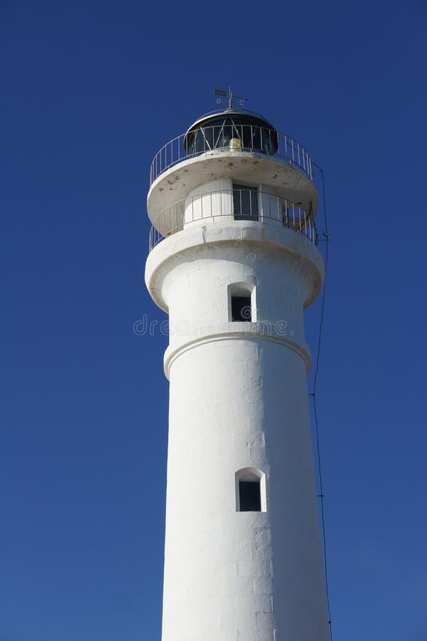 Leuchtturm und blauer Himmel in Torrox-Costa, Spanien stockfotografie