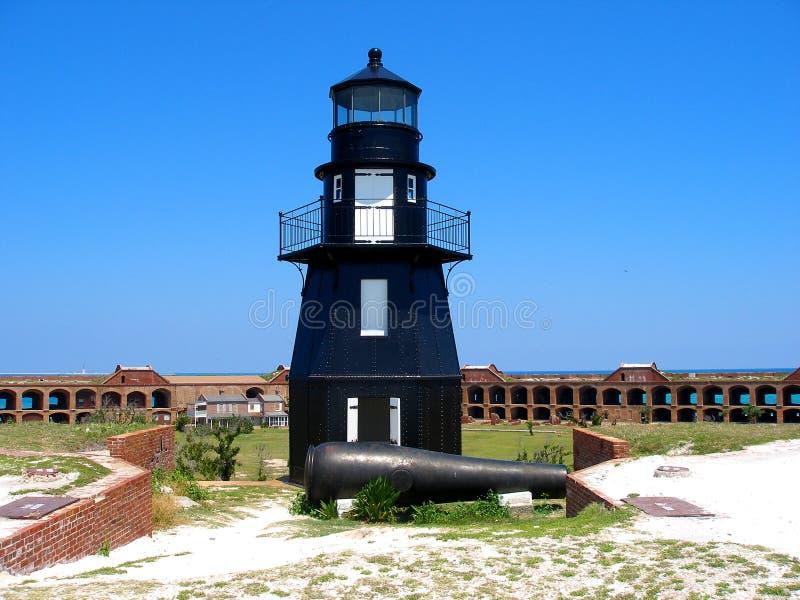 Leuchtturm und Kanone im Fort Jeffereson stockfotos