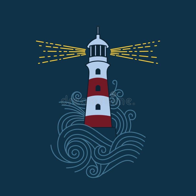 Leuchtturm unter den Wellen vektor abbildung