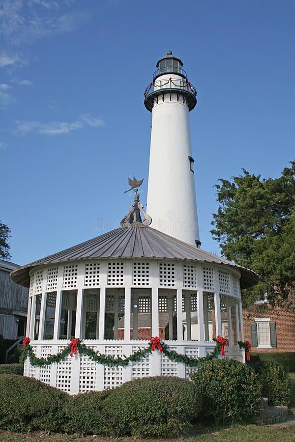 Leuchtturm am Weihnachten lizenzfreies stockfoto