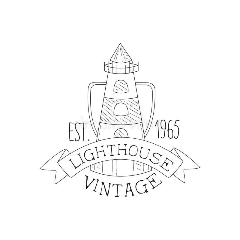 Leuchtturm-Weinlese-Meer Und Seesymbol-Hand Gezeichnete Skizzen ...