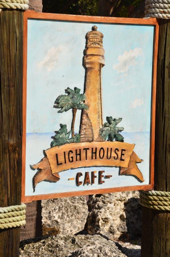 Leuchtturmcafézeichen lizenzfreies stockfoto