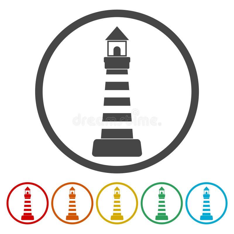 Leuchtturmikonen eingestellt lizenzfreie abbildung