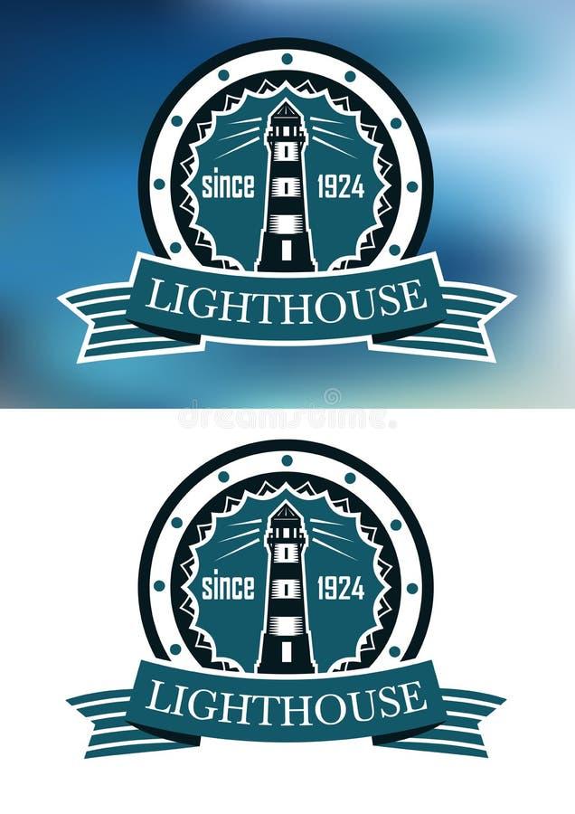 Leuchtturmlogo oder -emblem im Retro- Blau lizenzfreie abbildung