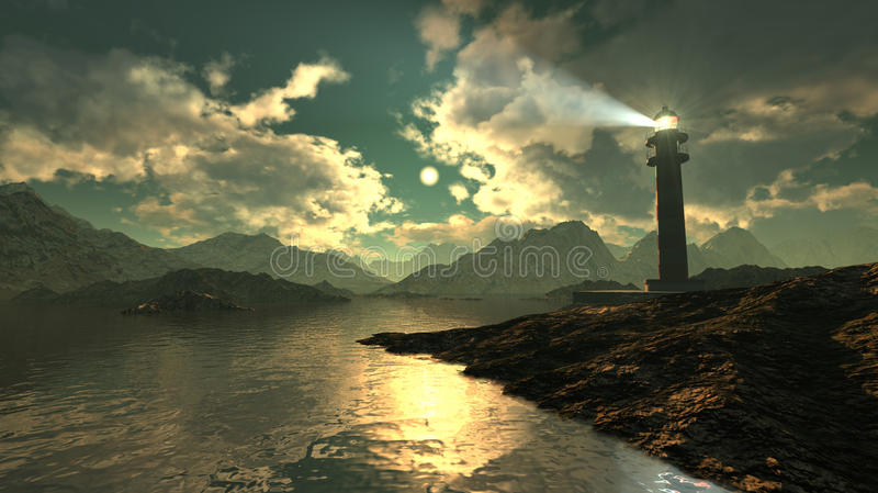 Leuchtturmmeerblick lizenzfreie abbildung