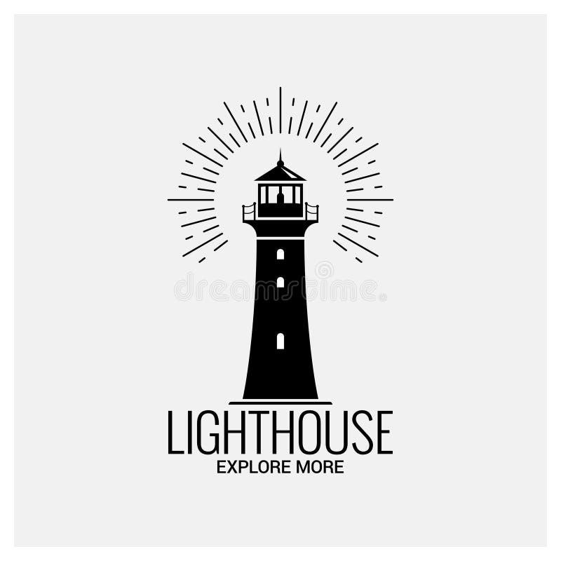 Leuchtturmnavigations-Logoweinlese auf weißem Hintergrund stock abbildung