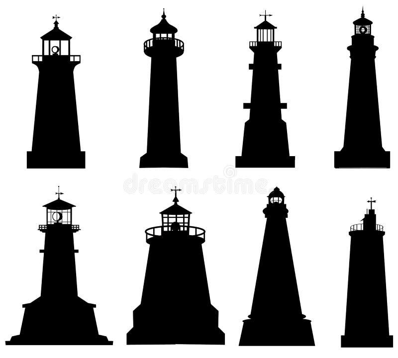 Leuchtturmschattenbildsatz lizenzfreie abbildung