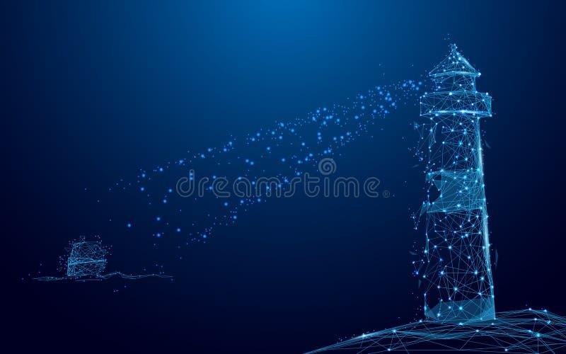 Leuchtturmscheinwerferstrahl durch Yacht im Meer von den Linien und von den Dreiecken, Verbindungsnetz des Punktes auf blauem Hin vektor abbildung
