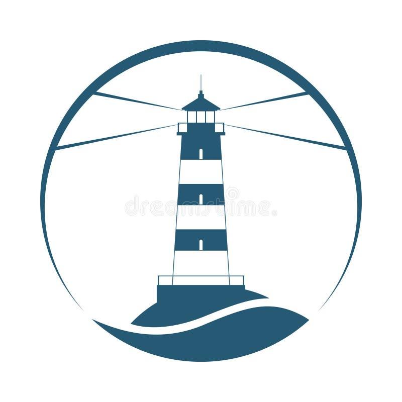 Leuchtturmsymbol im Kreis lizenzfreie abbildung
