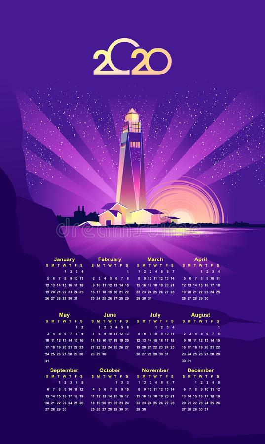 Leuchtturmvektor mit 2020 Kalendern stock abbildung