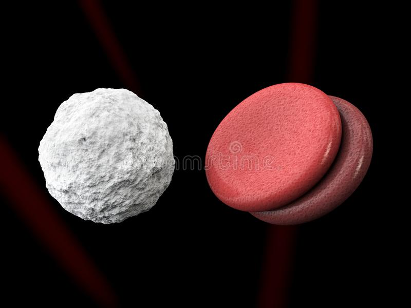Leucocytes and blood cells isolated black, 3d Illustration royalty free stock image