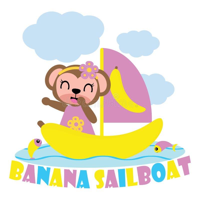 Leuk aapmeisje op de varende illustratie van het boot vectorbeeldverhaal voor het ontwerp van de jong geitjet-shirt royalty-vrije illustratie