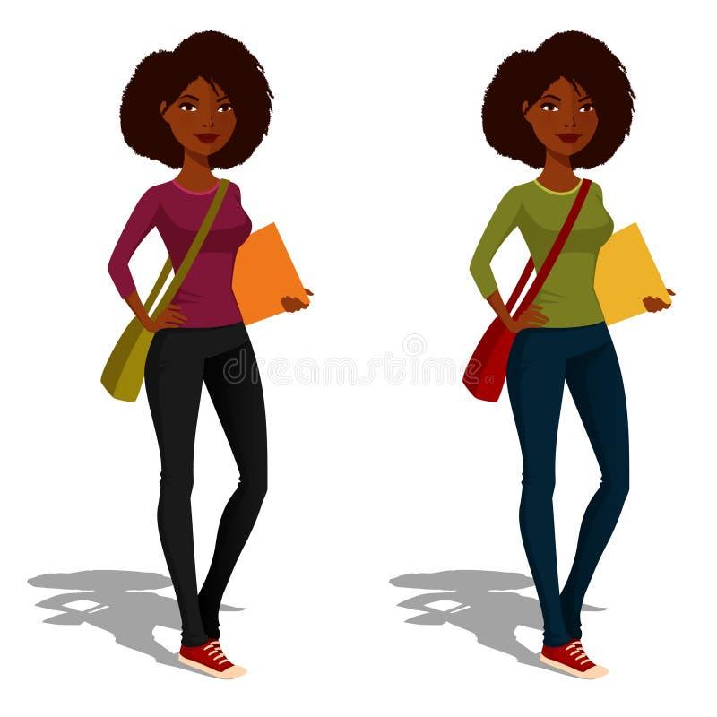 Leuk Afrikaans Amerikaans studentenmeisje vector illustratie