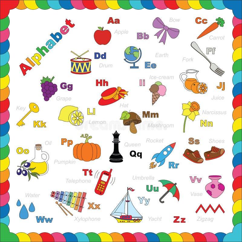 Leuk alfabet in vectorvoorwerpen royalty-vrije illustratie