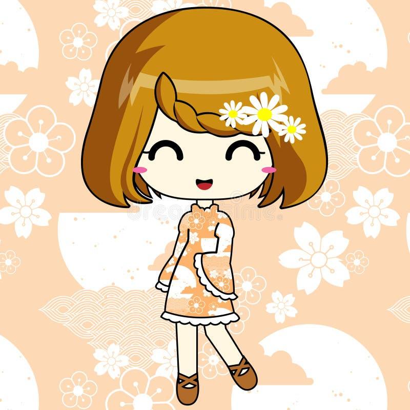 Leuk animemeisje in patroonkleding stock foto's