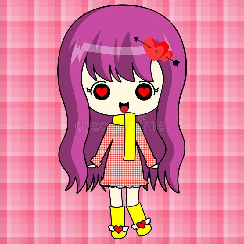 Leuk animemeisje in rode laag stock foto