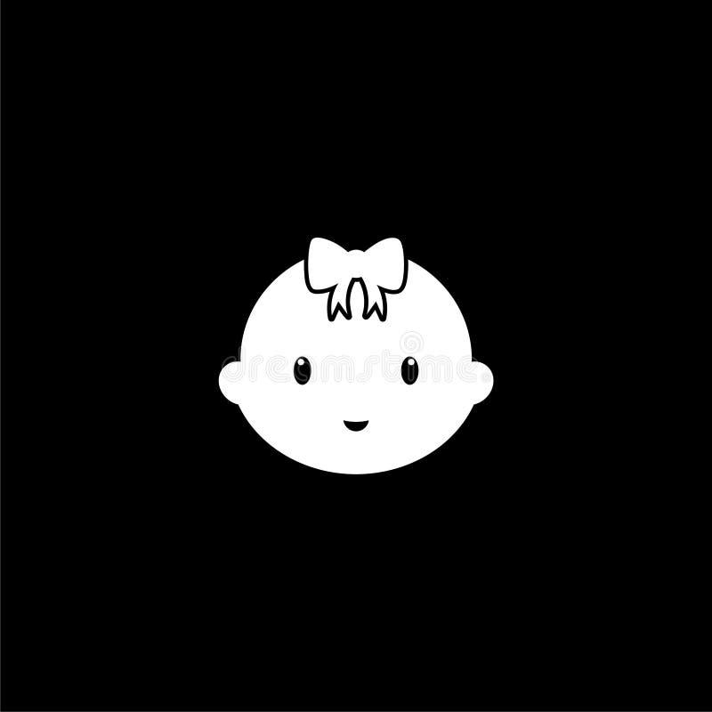 Leuk babyembleem, het pictogram van het babygezicht op donkere achtergrond vector illustratie