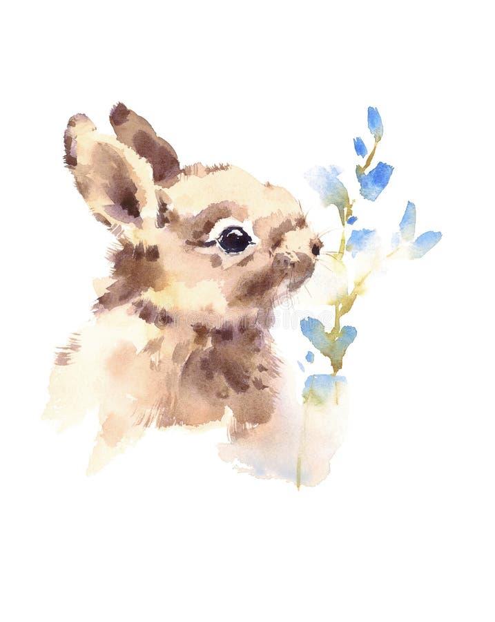 Leuk Babykonijntje die de blauwe Getrokken Hand ruiken van de de Dierenillustratie van de bloemenwaterverf stock illustratie
