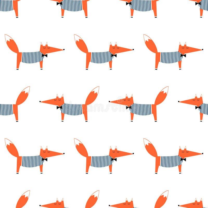 Leuk beeldverhaal foxy vectorpatroon vector illustratie