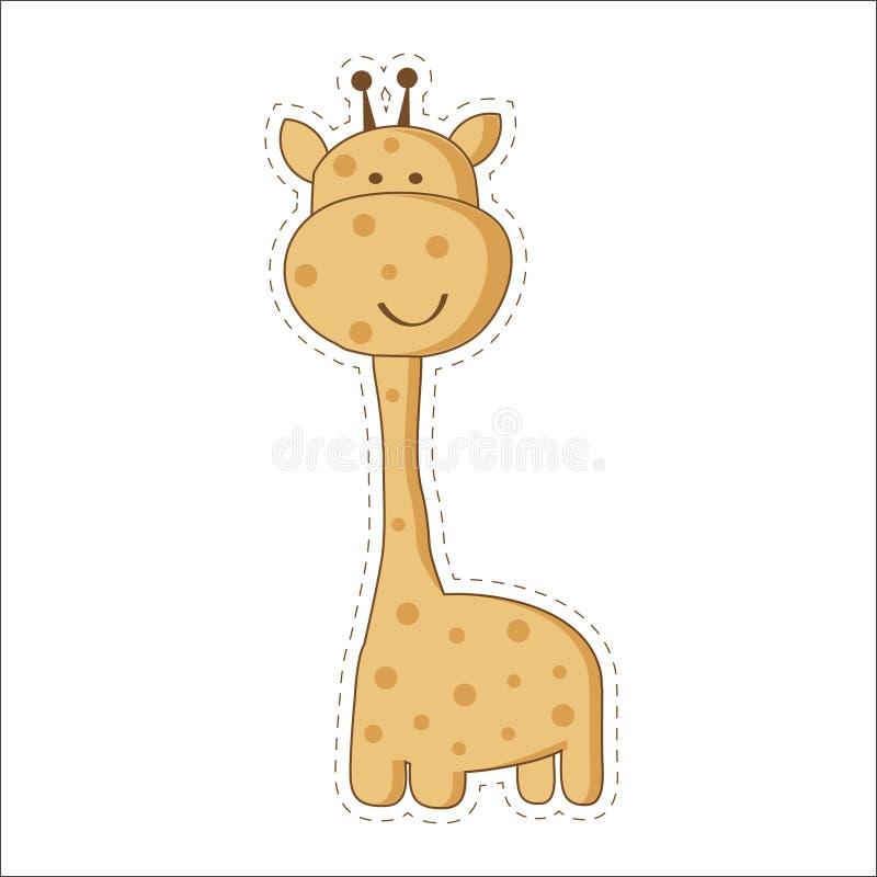 Leuk beeldverhaal in ontwerp weinig giraf met gesloten ogen Het Afrikaanse dierlijke pictogram van de het wildillustratie vector illustratie