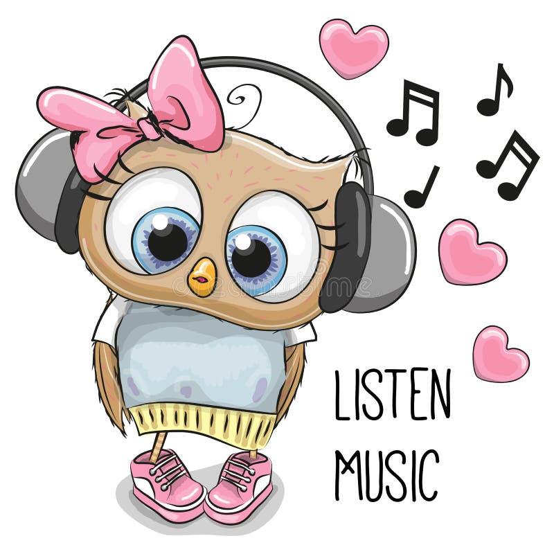 Leuk Beeldverhaal Owl Girl royalty-vrije illustratie