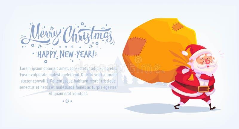 Leuk beeldverhaal Santa Claus die giften in grote van de de illustratiegroet van zak Vrolijke Kerstmis vector horizontale de kaar royalty-vrije illustratie